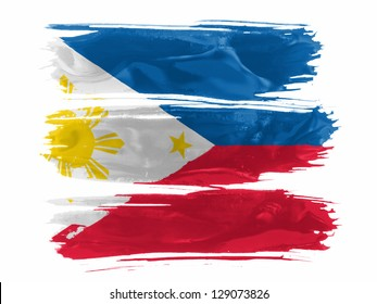 Philippine flag  painted with three strokes of paint in white