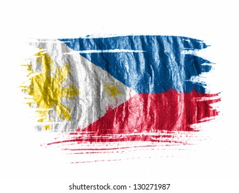 Philippine flag  painted with watercolor on wet white paper