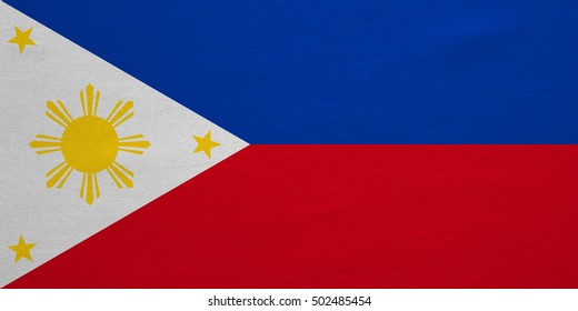 Philippine national official flag. Patriotic symbol, banner, element, background. Correct colors. Flag of the Philippines with real detailed fabric texture, accurate size, illustration