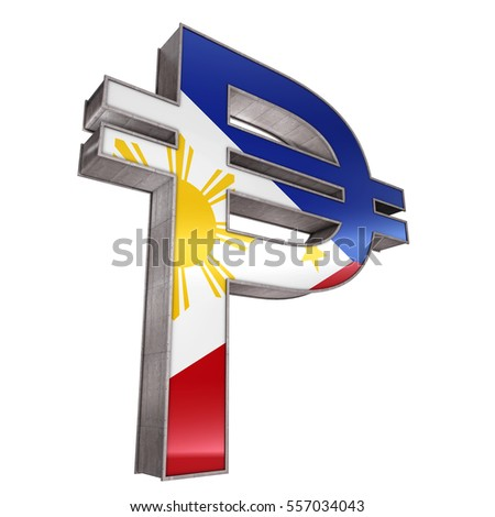 Philippine Peso Symbol 3 D Render Isolated Stock Illustration