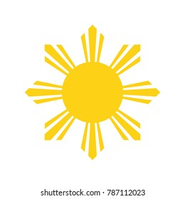 Philippine Yellow Sun. National symbol of Philippines. Abstract concept. Raster illustration on white background.