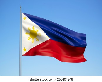 Philippines 3d flag floating in the wind. 3d illustration.