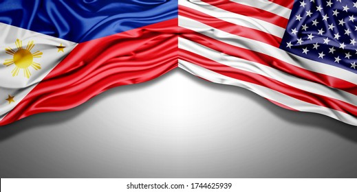 Philippines and American flag of silk with copyspace for your text or images and white background -3D illustration