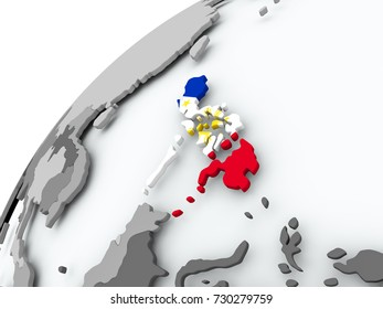 Philippines with embedded flag on globe. 3D illustration.