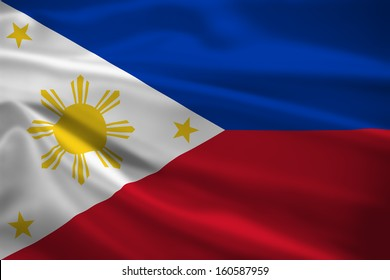 The Philippines flag blowing in the wind. Background texture.