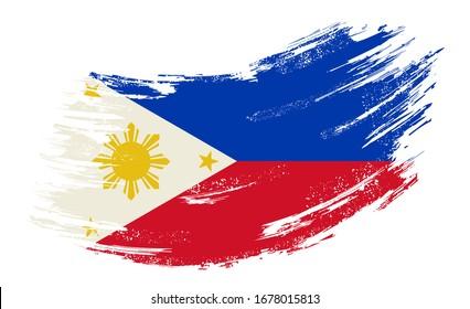 Philippines flag brush stroke grunge background. Raster version.