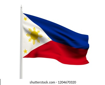Philippines flag floating in the wind with a White sky background. 3D illustration.