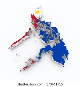 Philippines flag on 3d map