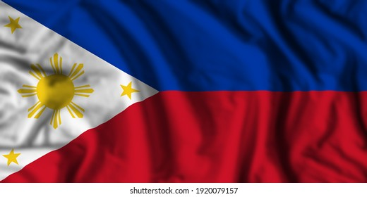 Philippines flag realistic waving for design on independence day or other state holiday