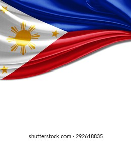 Philippines flag  of silk with copyspace for your text or images and white background