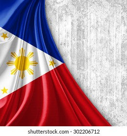 Philippines flag of silk with copyspace for your text or images and wall background