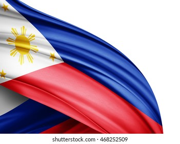 Philippines  flag of silk with copyspace for your text or images and white background -3D illustration
