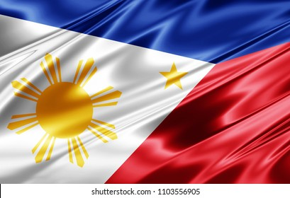 Philippines flag  of silk-3D illustration