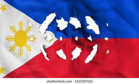 Philippines flag with a small holes, white background, 3d rendering