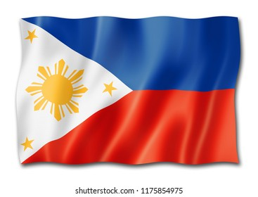 Philippines flag, three dimensional render, isolated on white
