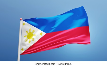 Philippines national flag fluttering in the wind 3d realistic render