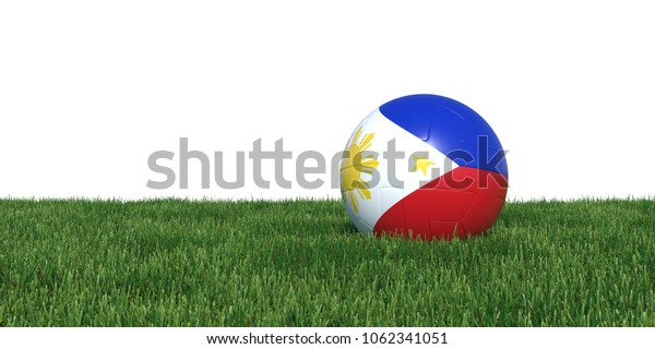 Philippines Philippine flag soccer ball lying in grass, isolated on white background. 3D Rendering, Illustration.