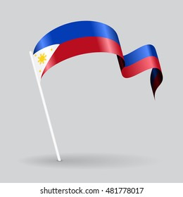 Philippines pin icon wavy flag. Raster version.