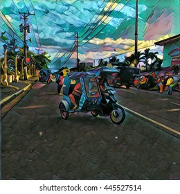 Philippines street life illustration with road, transport, and local tricycle driver in sunset light, vibrant colors painting style. Highway in Asia square picture. Filipino city road, bike with coach