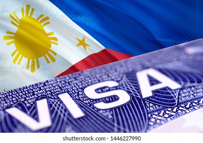 Philippines Visa Document, with Philippines flag in background, 3D rendering. Philippines flag with Close up text VISA on USA visa stamp in passport.Visa passport stamp travel Philippines business