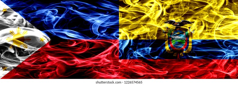 Philippines vs Ecuador, Ecuadorian smoke flags placed side by side. Thick abstract colored silky smoke flags