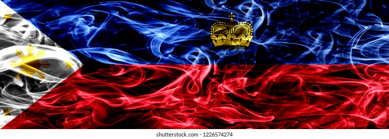 Philippines vs Liechtenstein, Liechtensteins smoke flags placed side by side. Thick abstract colored silky smoke flags
