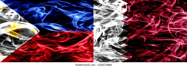Philippines vs Qatar, Qatari smoke flags placed side by side. Thick abstract colored silky smoke flags