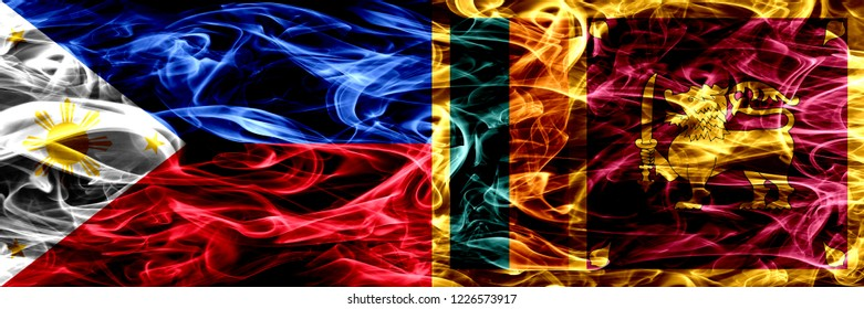 Philippines vs Sri Lanka, Sri Lankan smoke flags placed side by side. Thick abstract colored silky smoke flags