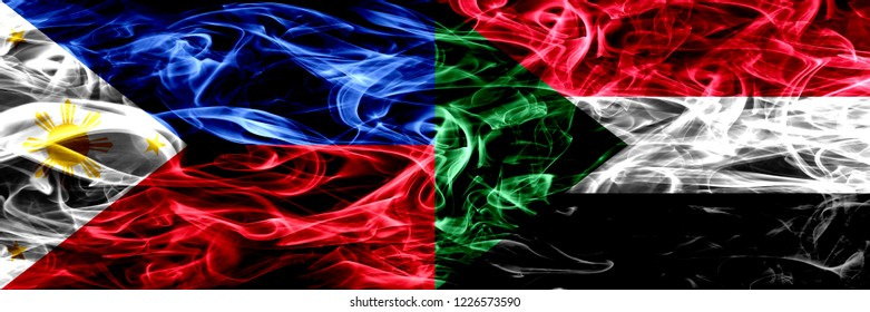 Philippines vs Sudan, Sudanese smoke flags placed side by side. Thick abstract colored silky smoke flags