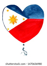 Phillipines  watercolor hand drawn Phillipines  flag with a map in heart shape on white background