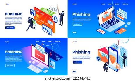 Phishing banner set. Isometric set of phishing banner for web design