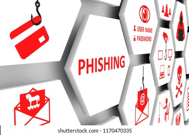 PHISHING concept cell background 3d illustration