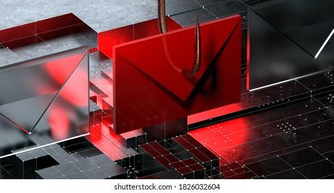 Phishing Email Scam 3D Illustration
