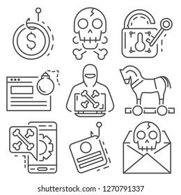 Phishing icon set. Outline set of phishing icons for web design isolated on white background