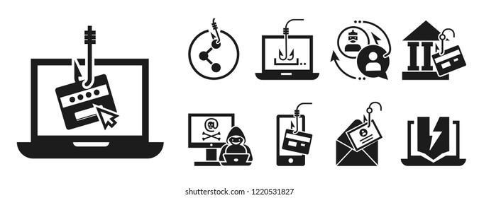 Phishing icon set. Simple set of phishing icons for web design on white background