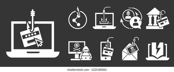 Phishing icon set. Simple set of phishing icons for web design on gray background