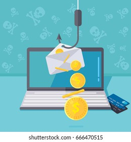Phishing via internet concept illustration. Fishing by email spoofing or instant messaging. Hacking credit card or personal information through website. Cyber banking account attack. Online sucurity.
