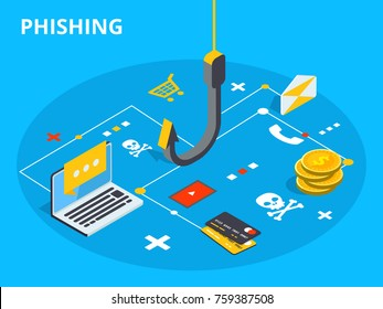 Phishing via internet isometric concept illustration. Email spoofing or fishing messages. Hacking credit card or personal information website. Cyber banking account attack. Online security.