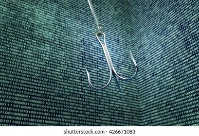 phising digital safety concept fishing hook in digital enviroment, 3d illustration