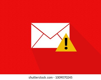 Phising Mail alert with red background