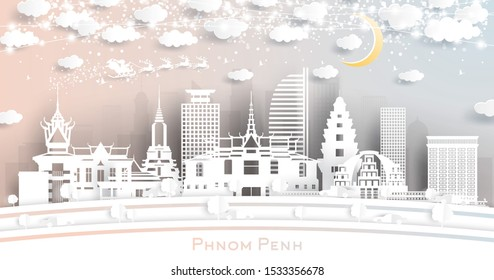 Phnom Penh Cambodia City Skyline in Paper Cut Style with Snowflakes, Moon and Neon Garland. Christmas and New Year Concept. Santa Claus on Sleigh.