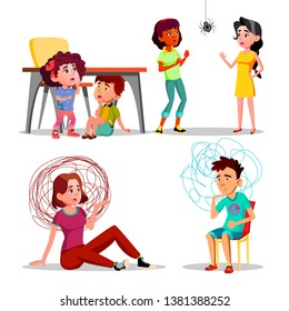 Phobia, Anxiety, Panic Attack, Depression Set. Frightened, Stressed People With Phobia Cartoon Characters. Kids Hiding Under Table. Arachnophobia, Confused Man And Woman Flat Illustrations