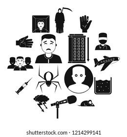 Phobia symbols icons set. Simple illustration of 16 phobia symbols icons for web