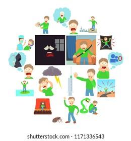 Phobias icons set human. Cartoon illustration of 16 various phobias human icons for web