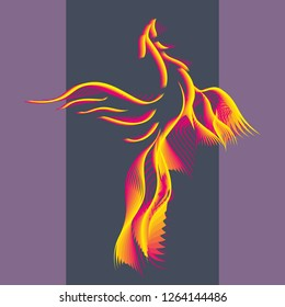 Phoenix bird rising from the ashes. Flaming Magic Fairy Bird. Flying Phoenix as abstract symbol of rebirth. Surreal creative vintage icon. Myth animal. Colorful minimal style illustration