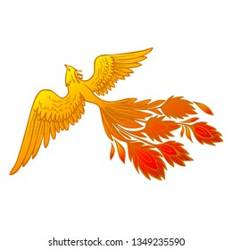 Phoenix Fire bird illustration and character design. Hand drawn Phoenix tattoo Japanese and Chinese style, Firebird is Russian fairy tales and Slavic folklore