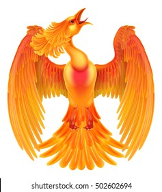 A phoenix fire bird rising with its wings spread