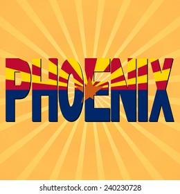 Phoenix flag text with sunburst illustration