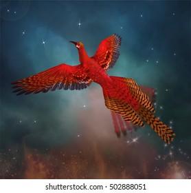 Phoenix flies through the sky - 3D illustration
