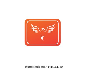 Phoenix flying bird and eagle open wings Logo Design illustration in a rectangle shape
